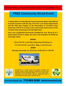 INFORMATION ON FREE COMMUNITY SHRED EVENT IN PORT ST LUCIE
