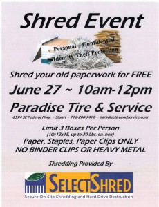 Paradise Tire and Service Shred Event 10 AM to 12 Noon on June 27, 2015